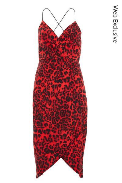 Red Satin Leopard Print Midi dress